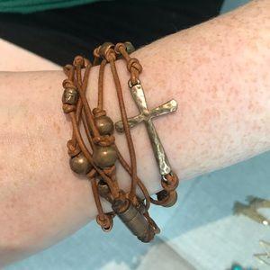 Beaded Cross Wrap Bracelet